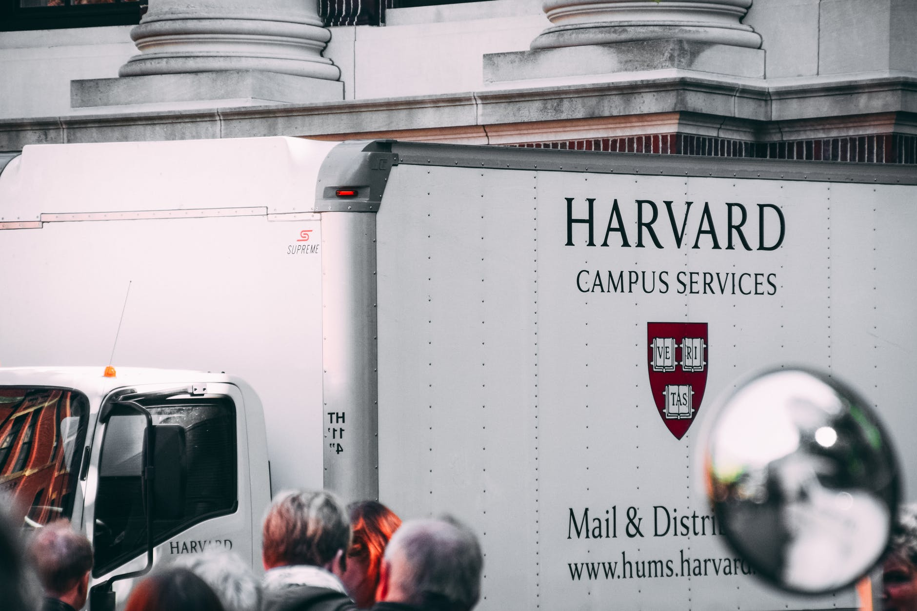 white harvard campus services truck